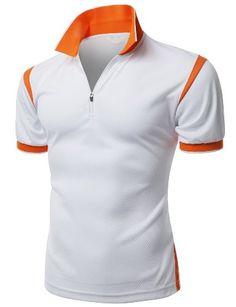 Men's Coolmax 2 Tone Collar Zipup Polo T-Shirt Polo T Shirts, Golf Shirts, Sports Shirts, Sports Uniforms, Camisa Polo, Sport Shirt Design, Kurta Pajama Men, Golf Attire, Men's Fashion