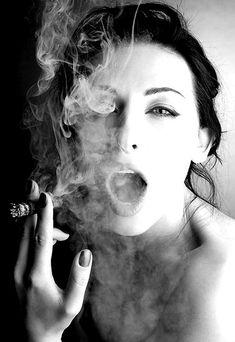 black and white, cigar, cigarette, girl, photo