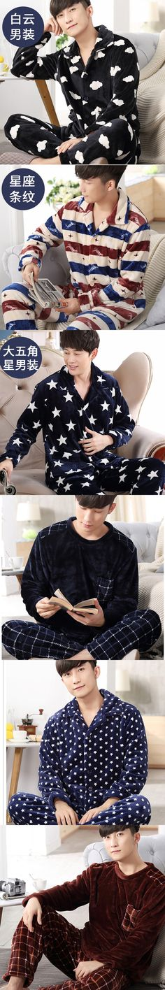 2017 New Men's Pajamas Set Sleepwear Warm Flannel Plaid Stripped Printing Men Sleeping Wear Lounge Pajamas Homewear Nighties 267