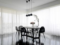 sheer curtains on large windows............Contemporary Dining Room by Luigi Rosselli Architects
