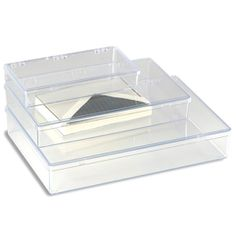 "The Container Store  Clear Rectangular Hinged Boxes 1-Compartment Box Clear $15 13-1/8"" x 9"" x 2-5/16"" h 312340"