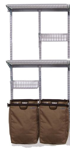 Triton Products 1690 Storability Utility Room Wall Mount Storage System 33-Inch L by 63-Inch H with 2 Storage Bags, 2 Wire Shelves, 2 Wire Baskets and Hardware