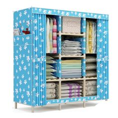 10KG  solid wood oxford cloth wardrobe Simple using foldable Curtain style canvas wardrobe  for kids Adults larege capacity