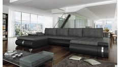 BMF Fado Lux GREY / BLACK U-SHAPE Sofa Faux Leather/Fabric Left Facing GOOD PRICE !!!