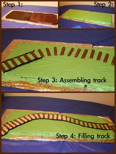 Base is two large flat brownies mixes). After icing grass and making track, cover grass with green coconut. 3rd Birthday Cakes, Trains Birthday Party, Train Party, 1st Birthday Parties, Boy Birthday, Birthday Ideas, Thomas Cakes, Bike Cakes, Novelty Cakes
