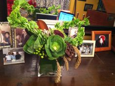 Fortino's Flowers and Gifts Green Kale, Magnolia Leaves, Glass Cube, Cabbage, Vase, Vegetables, Ireland, Flowers, Plants
