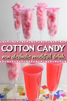 This fun and sweet non alcoholic tasty cotton candy mocktail has a very beautifu. This fun and sweet non alcoholic tasty cotton candy mocktail has a very beautiful and festive pink Mocktail Drinks, Drink Recipes Nonalcoholic, Party Drinks Alcohol, Alcholic Drinks, Kid Drinks, Alcohol Drink Recipes, Refreshing Drinks, Yummy Drinks, Kid Cocktails Non Alcoholic