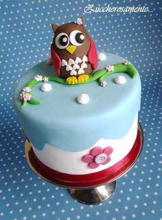 Torta gufo in pasta di zucchero - Owl cake