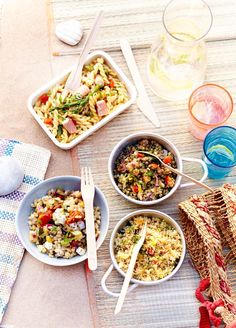 C'est le moment des grandes salades ! Salade italienne, salade grecque, salade de lentilles au saumon fumé, taboulé