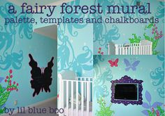Forest Mural Template Free Download via lilblueboo.com-- has some fun ideas and great free templates for chalkboard, etc.