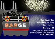 Join us to celebrate the New Year on the Battersea Barge, with music, drinks and views of the city skyline from 8:00pm to 12:30am. Ticket price is £15 or £20 with entry to the Tamesis Dock post-fireworks party from 12:30 to 4:00am. Buy your tkts at https://www.designmynight.com/london/bars/vauxhall/battersea-barge/new-years-eve-on-the-battersea-barge & do not miss out the biggest boat party in town.