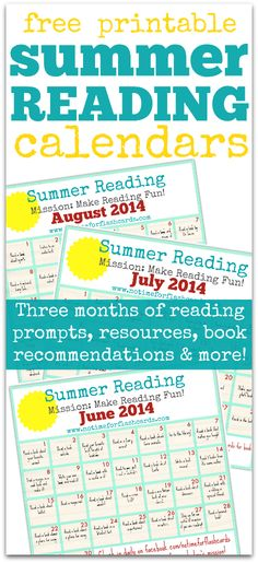 STARTS JUNE 1st !!!!    Summer Reading Calendar - FREE Printable