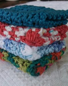 4pk Cotton Crocheted Washcloths Baby by AshleysCrazyCreation