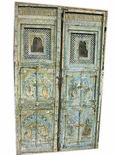 RARE ANTIQUE INDIA FURNITURE JHAROKA PAIR HAND CARVED PATINA WOODEN DOORS 72x20