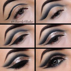 Cut crease pictorial  Step by step: 1⃣ outline cut crease with a black pencil liner 2⃣ blend out with a black matte shadow 3⃣ apply winged liner (liquid or gel) 4⃣ apply a glitter glue & glitter 5⃣ line bottom lash line, apply lashes & mascara 6⃣ all done :) - @Starrly Gladue- #webstagram