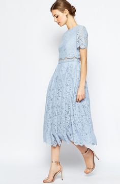 ASOS lace crop top midi dress in baby blue: http://www.stylemepretty.com/2016/03/22/lace-dresses-perfect-for-spring/