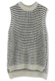 White Fishnet Knit Vest