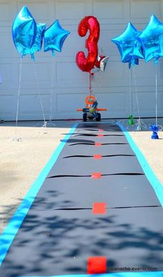Landing strip at an airplane birthday party! See more party ideas at CatchMyParty.com!