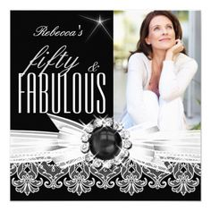 Fabulous 50 Photo Black Pearl White Lace Birthday 5.25x5.25 Square Paper Invitation Card
