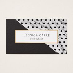 Chic Black Polka Dot Marble Gold Business Card - stylist business cards cyo personalize businesscard diy