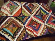string quilt blocks made into quilt