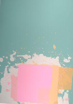 Pink Block on Green (New York Suite)   1971 by John Hoyland (1934-2011) - Screenprint