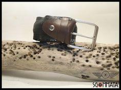 Cintura in copertone di bici da corsa // fibbia in  acciaio anticato //passante e reggi fibbia in pelle marrone //  fatta a mano // art. 035