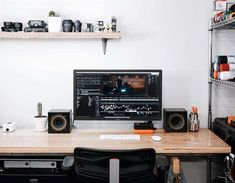 Top 10 Stunning Home Office Design - Gamer House Ideas 2019 - 2020 Home Office Setup, Office Workspace, Home Office Design, House Design, Office Designs, Studio Design, Computer Setup, Desk Setup, Computer Workstation