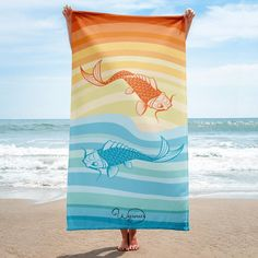 "STRIPED BORDER BEACH TOWEL 36/""X70/"" TROPICAL PLUSH PLUSH PINK /& ORANGE FLAMINGO"