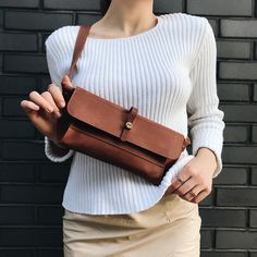 f6a096ae536 Hip   Belt Bags – Leather bum bag fanny pack in Cognac Brown color –