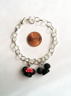Mickey and Minnie Ear Hat Clay Charm Bracelet by aWishUponACharm, $7.50