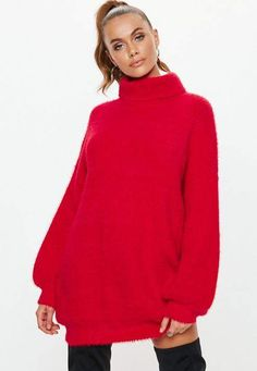 a6d0de38d Missguided Premium Red Fluffy Turtle Neck Sweater Dress
