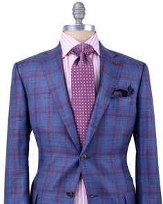 Isaia Blue and Purple Plaid Sportcoat