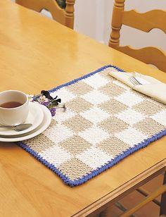 Checkerboard Placemat - Free Crochet Pattern - (yarnspirations)