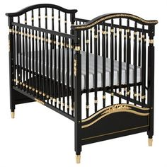 AFK's mission is to create the world's finest furnishings for children. The Madison Crib in Black and Gold Gilding with Appliqued Moulding is no exception!