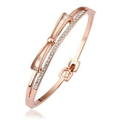 Gold Plated Bangle Bracelets for Women Rose Gold Cubic Zirconia Bow Shape