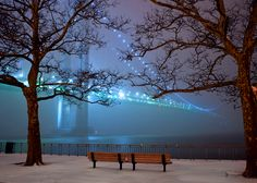 Brooklyn bridge at night. NYC