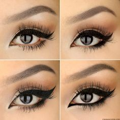 top left- Classic cat eye top right - Rounded cat eye bottom left- Dramatic Upturned cat eye bottom right- Symmetrical Eye  #cateye #browtutorial #cateyeeyeliner