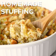 Make this Classic Traditional Homemade Stuffing Recipe when you're looking for the easiest and tastiest Thanksgiving stuffing recipe. Made with sourdough bread, veggies, butter, and Italian seasoning, Stuffing Recipes For Thanksgiving, Holiday Recipes, Thanksgiving Videos, Southern Thanksgiving Recipes, Traditional Thanksgiving Recipes, Turkey Stuffing, Turkey Gravy, Thanksgiving Side Dishes, Thanksgiving Turkey