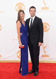 #emmyfashion Writer Siri Pinter (L) and TV personality Carson Daly arrive at the 65th Annual Primetime Emmy Awards held at Nokia Theatre L.A. Live on September 22, 2013 in Los Angeles, California.