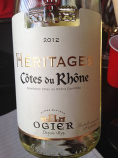 Héritages Côtes du Rhone *all dry farmed *40% white Grenache, 20% clairette, 20% bouboulenc, 10% rousanne, 10% Viognier *lengthy finish *nectarine, peach, apricot and lemon! *subtle flowers *delicious! *$11-16 (opi)