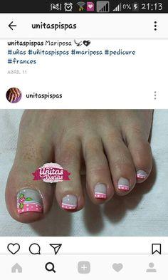 French Pedicure, Pedicure Nail Art, Toe Nail Art, Manicure, Pedicure Designs, Toe Nail Designs, Blue Acrylic Nails, Polka Dot Nails, Love Nails