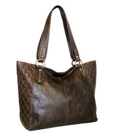 Look what I found on #zulily! Chocolate Macarena Leather Tote #zulilyfinds