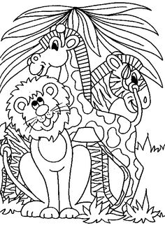 Animal coloring pages for kids Safari friends Animal Safari