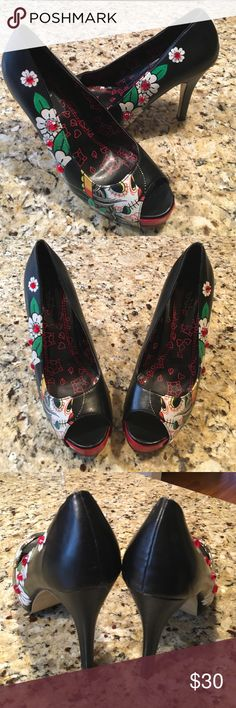 """Pin-up Inspired Peep Toe Pumps Get your toes into this adorable Iron Fist Killer peep-toe 4.5"""" pump featuring street-art inspired sugar skull print and subtle rhinestone embellishment. Excellent Condition✨ Iron Fist Shoes Heels"""