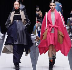 FACETASM by Hiromichi Ochiai 2015-2016 Fall Autumn Winter Womens Runway Catwalk Looks - Mercedes-Benz Fashion Week Tokyo Japan - Denim Jeans Honeycomb Ruffles Straps Robe Cloak Plaid Moto Motorcycle Biker Rider Multi-Panel Blouse Skirt Frock Outerwear Coat Oversized Cargo Pockets Layers Accordion Pleats Wide Leg Trousers Palazzo Pants Crop Top Midriff Turtleneck Chunky Knit Pinstripe Blazer Neon Green