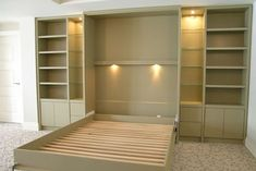 [QUESTION] How do you build a DIY murphy bed? What is the process to build a murphy bed? [ANSWER] The Murphy bed is a cross between a cabinet and a bed. It is commonly referred to as a pull-down bed, wall bed or fold-down bed. Build A Murphy Bed, Murphy Bed Plans, Build In Bed, Murphy Bed Desk, Diy Lit, Murphy-bett Ikea, Bed Ikea, Fold Down Beds, Horizontal Murphy Bed