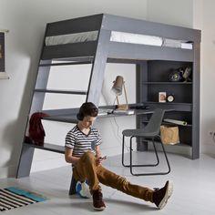 Hochbett JULI mit Schreibtisch und Regal, Holz Kiefer, grau, 90x200cm