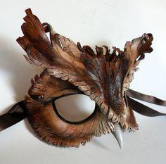 Screech Owl Leather Mask. $115.00, via Etsy.