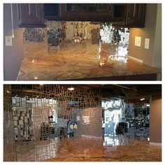 Amazing kitchen back splash created with Mosaic Tile Mania's Silver Mirror Jumbled Mix.  Click to see how America's Got Talent used this same mix on their stage!